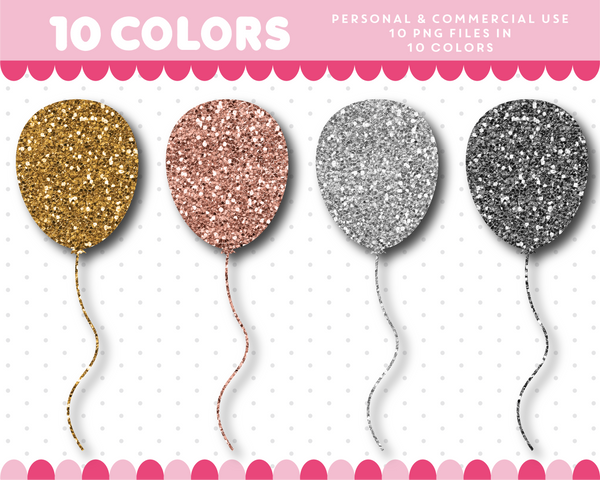 Balloon clipart in gold and silver glitter, Glitter clipart, CL-1737