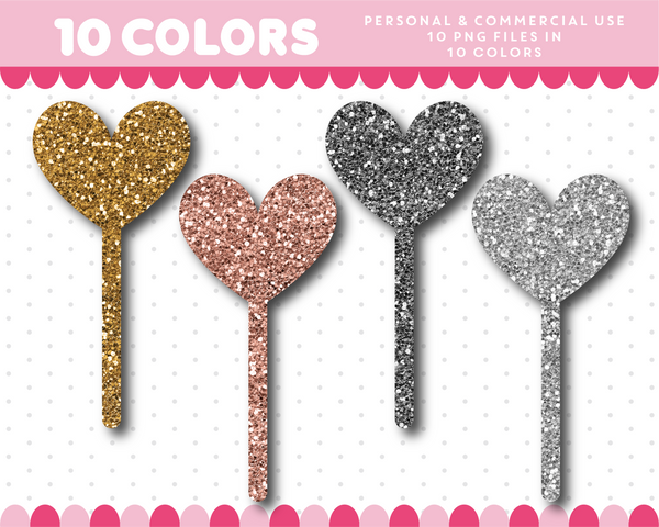 Heart wand clipart in gold and silver glitter, Glitter clipart, CL-1739