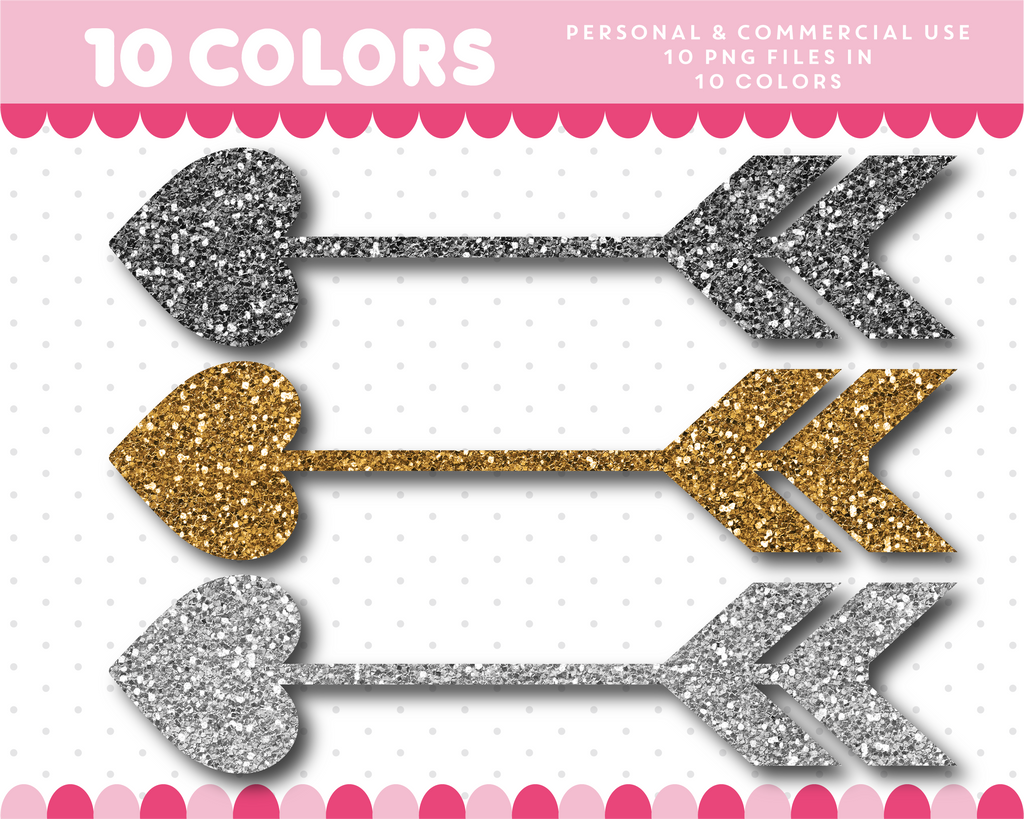 Heart arrow clipart in gold and silver glitter, Glitter clipart, CL-1740