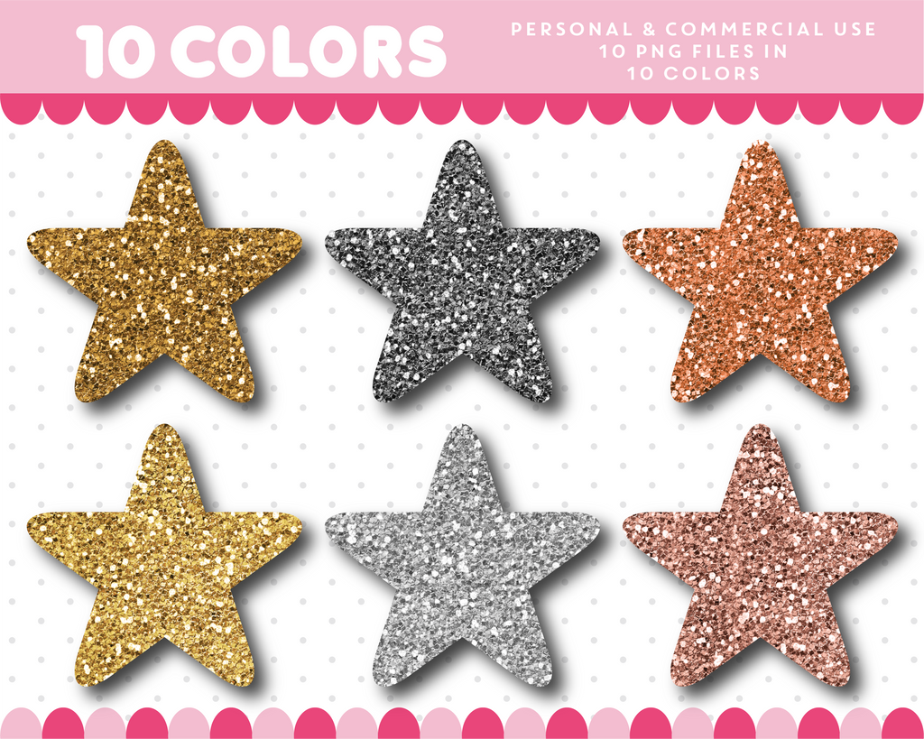 Star clipart in gold and silver glitter, Glitter clipart, CL-1741