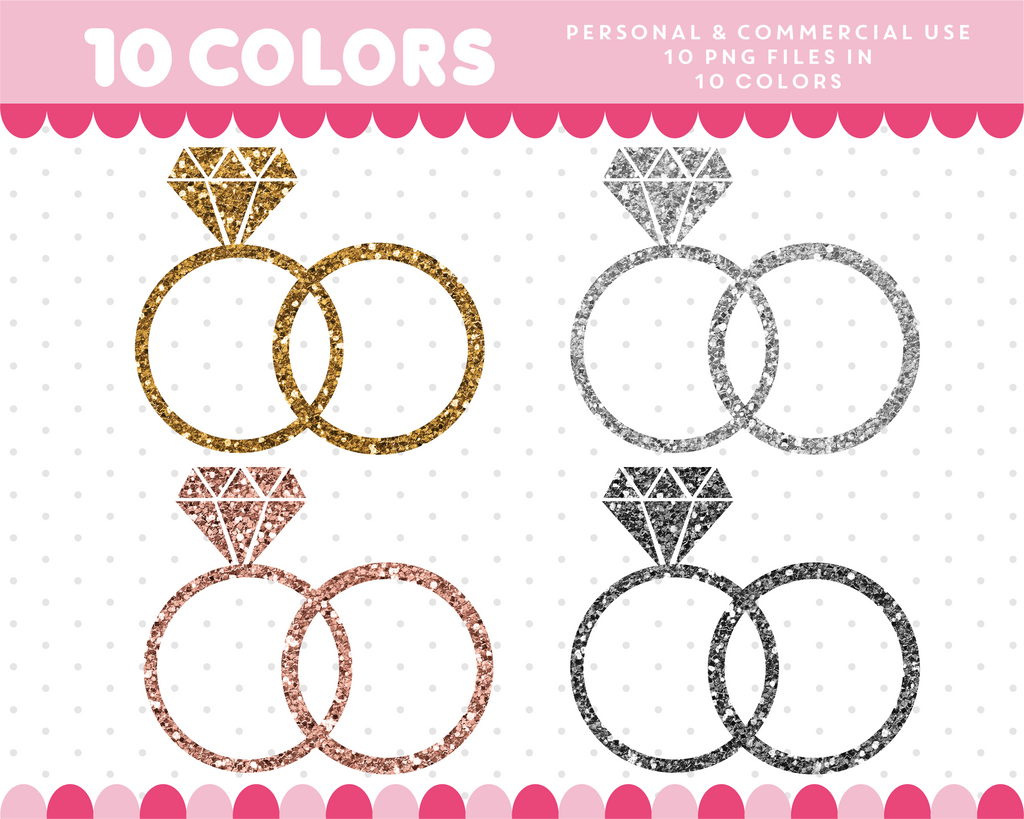 Wedding rings clipart in gold and silver glitter, Glitter clipart, CL-1744