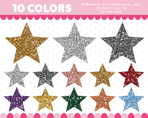 Pointy stars clipart in gold and silver glitter, Glitter clipart, CL-1745