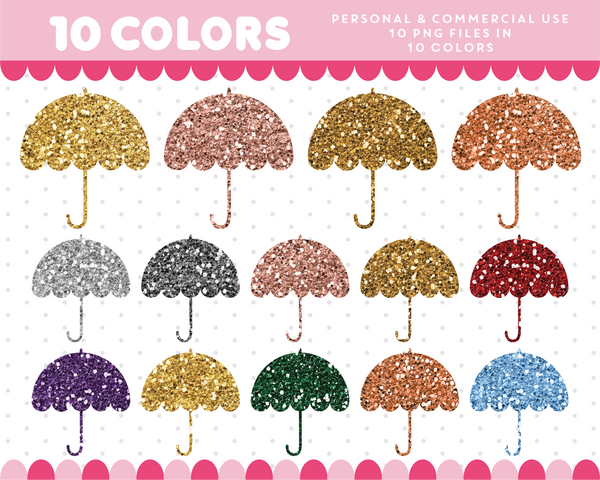 Umbrella clipart in gold and silver glitter, Glitter clipart, CL-1748