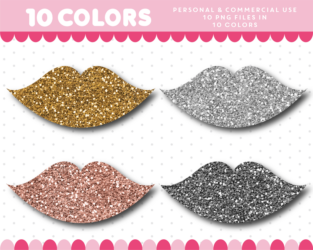 Kissing lips clipart in gold and silver glitter, Glitter clipart, CL-1752