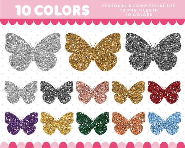 Butterfly clipart in gold and silver glitter, Glitter clipart, CL-1753