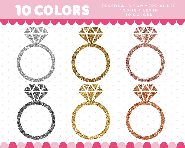 Ring clipart in gold and silver glitter, Glitter clipart, CL-1756