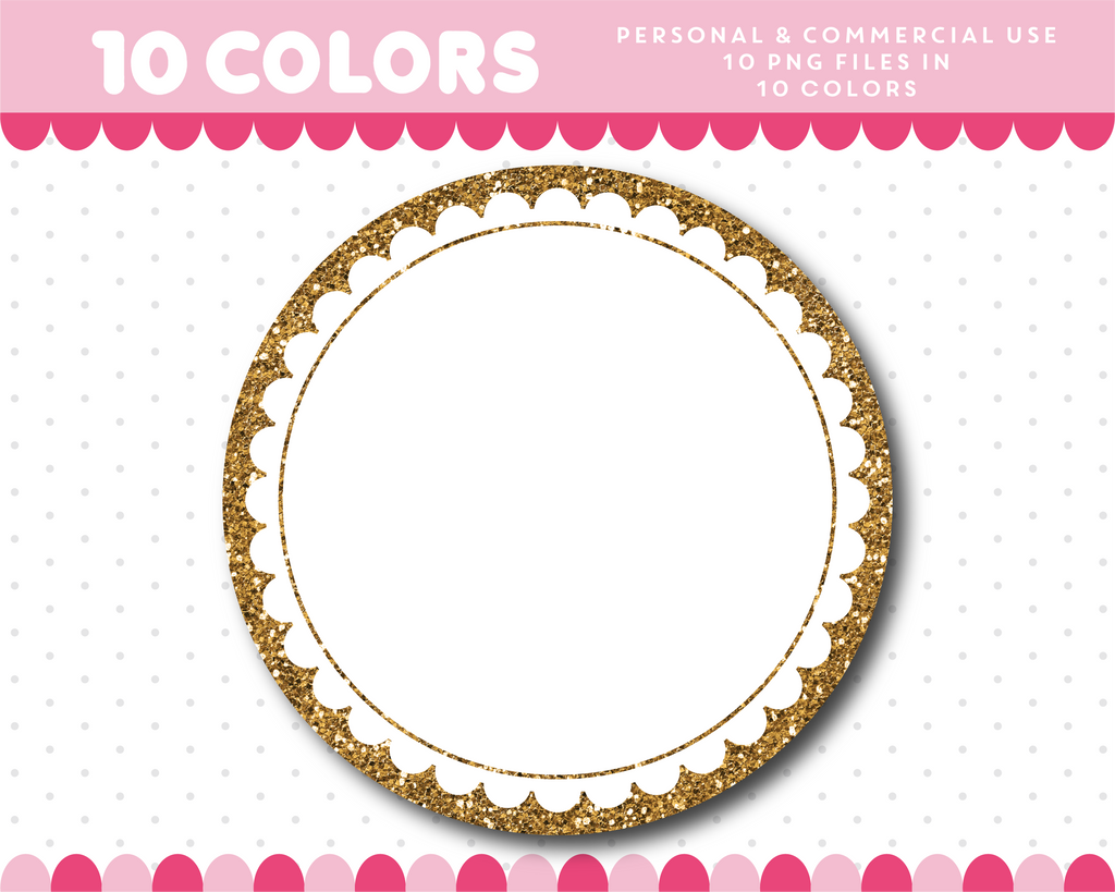 Round digital frame cliparts in gold and silver glitter, Glitter clipart, CL-1758