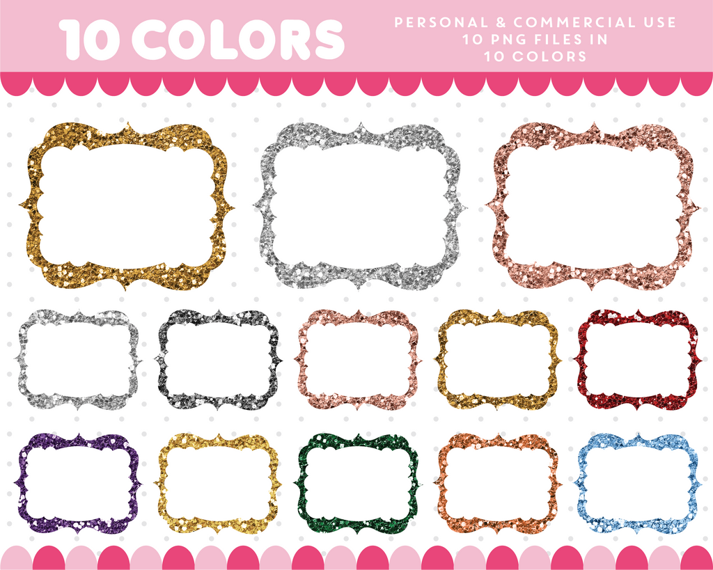 Square vintage frame clipart in gold and silver glitter, Glitter ...