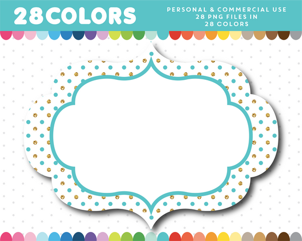 Vintage label frames with small gold polka dots in 28 colors, Glitter clipart, CL-1763
