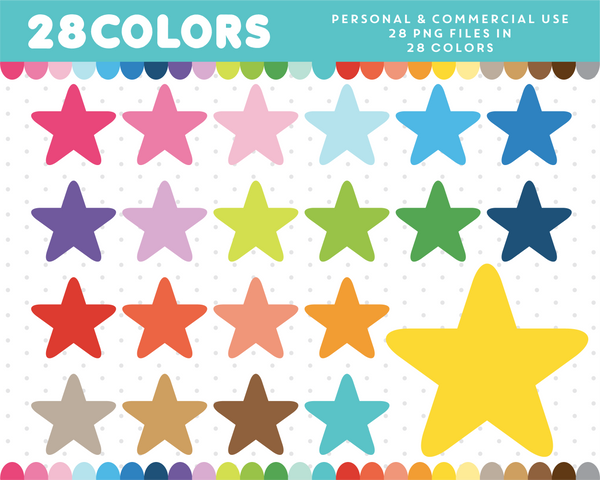 Baby star clipart in 28 colors, CL-22