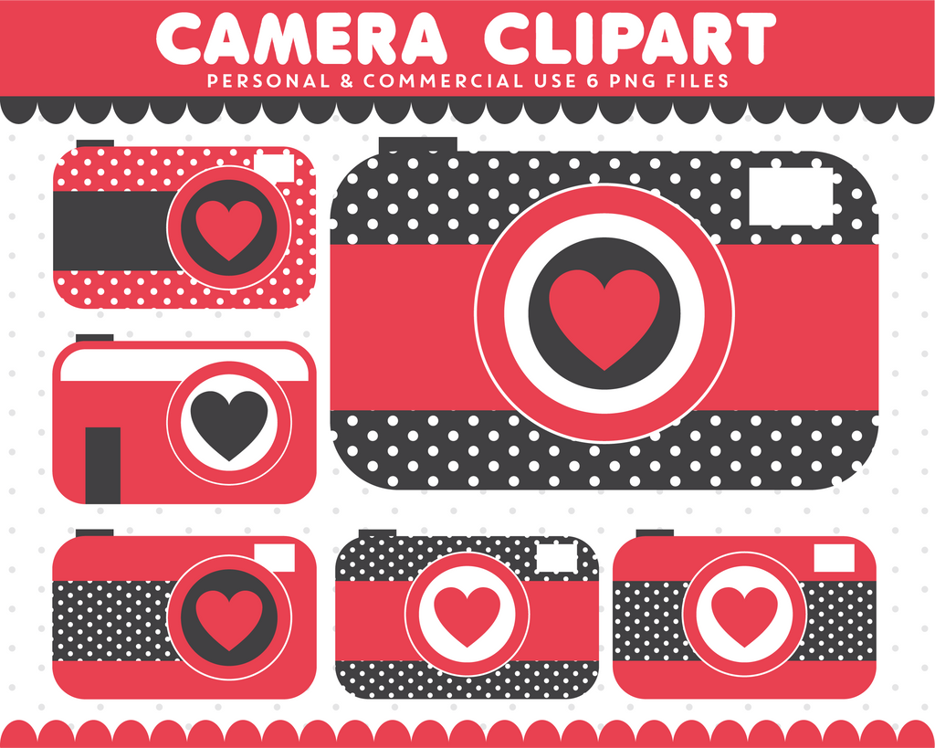 Red and black camera clipart for commercial use, CL-291
