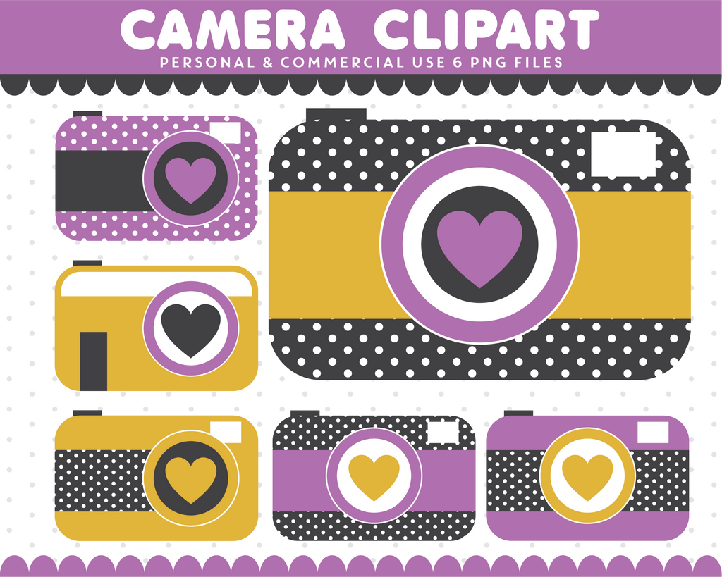 Purple camera cliparts with black and white polka dots, CL-293