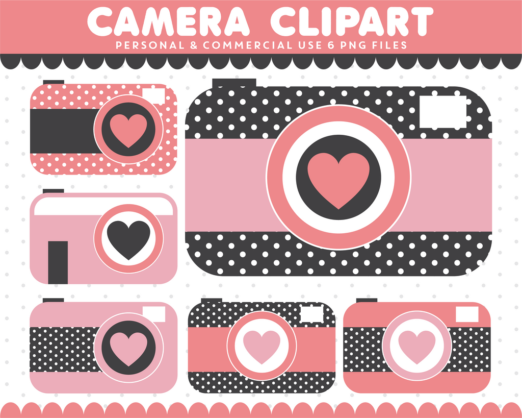 Pink camera illustration graphics with hearts, CL-299