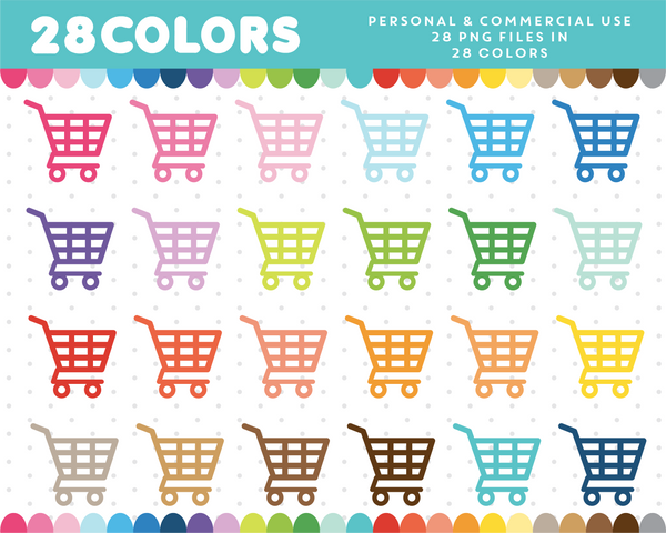 Shopping cart clipart in 28 colors, CL-330