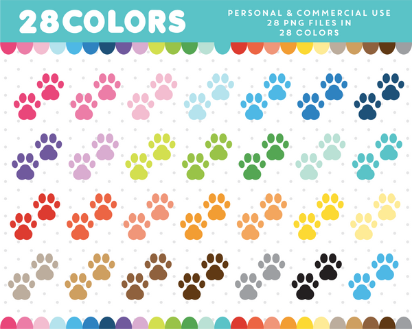 Paw footprint clipart in 28 colors, CL-331