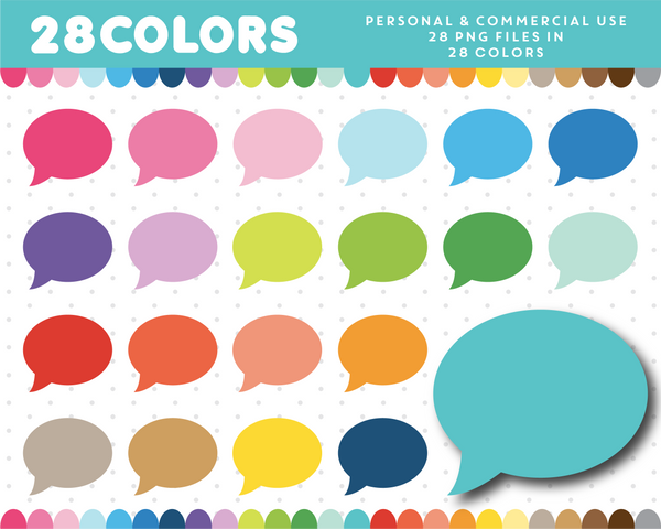 Round speech bubble clipart in 28 colors, CL-339