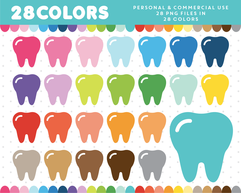 Tooth clipart in 28 colors, CL-348 JS Digital Paper