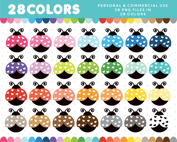 Ladybug clipart in 28 colors, CL-36