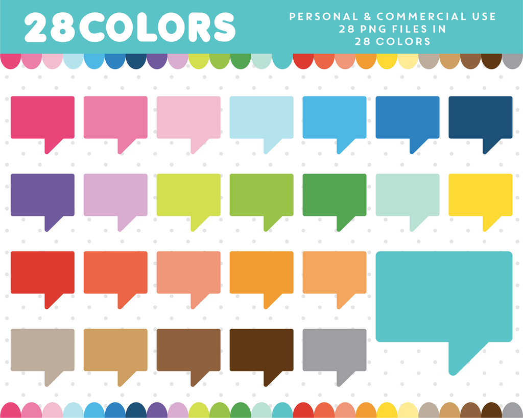 Square speech bubble clipart in 28 colors, CL-365 JS Digital Paper