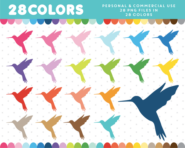 Hummingbird clipart in 28 colors, CL-377 JS Digital Paper