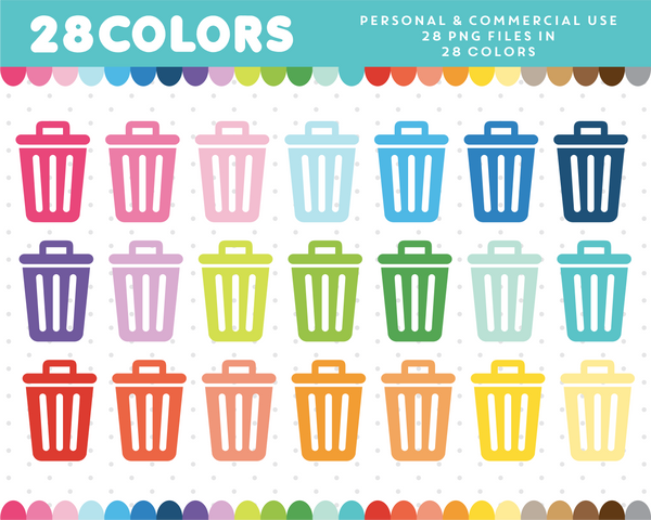 Trash can clipart in 28 colors, CL-378 JS Digital Paper