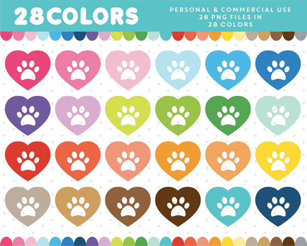 Dog paw with heart clipart in 28 colors, CL-386 JS Digital Paper