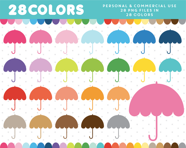 Umbrella clipart in 28 colors, CL-39