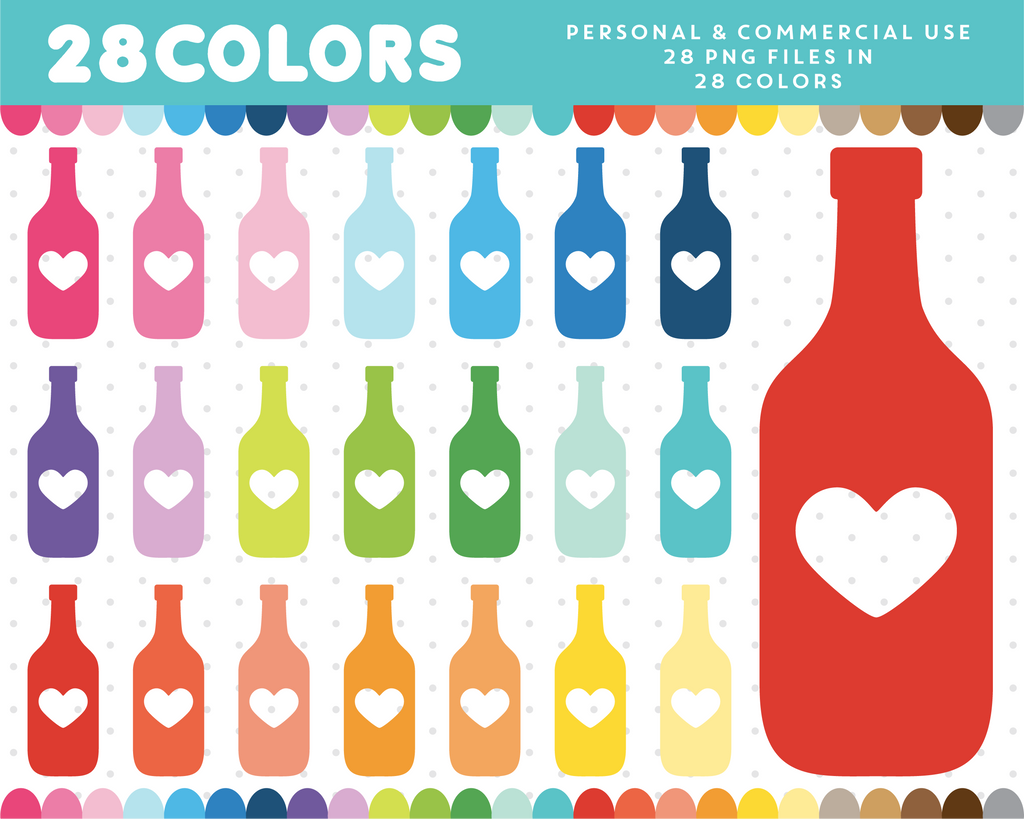Bottle with heart clipart in 28 colors, CL-394 JS Digital Paper
