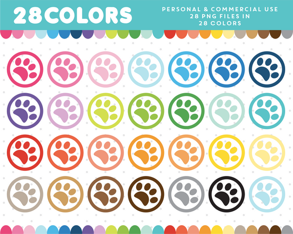Animal paw clipart in 28 colors, CL-401 JS Digital Paper
