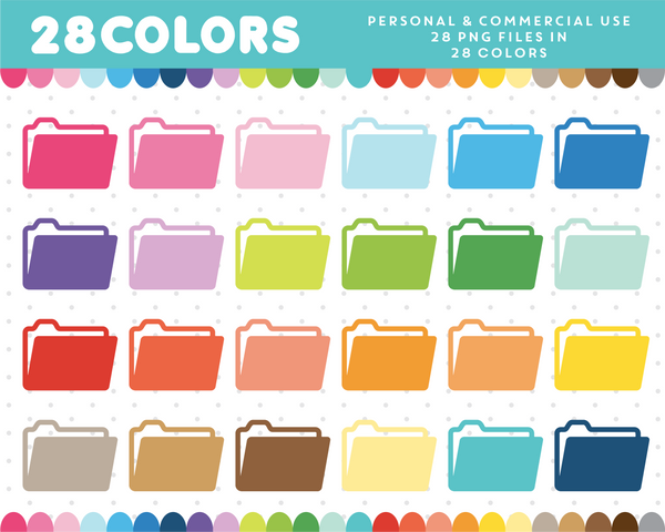 Folder clipart in 28 colors, CL-437 JS Digital Paper