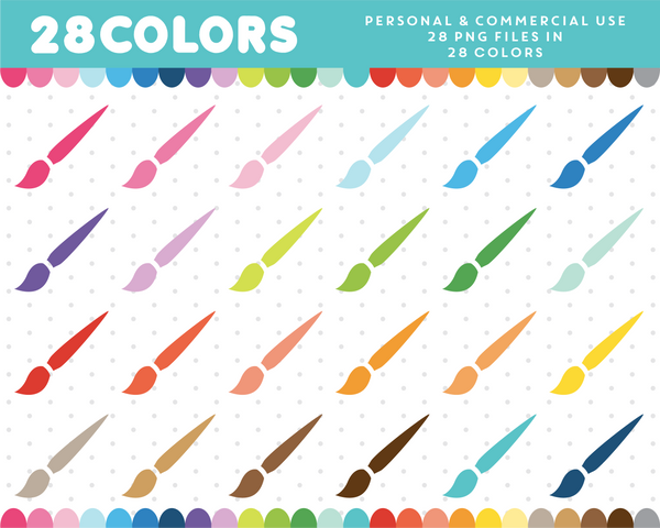Paint brush clipart in 28 colors, CL-454 JS Digital Paper