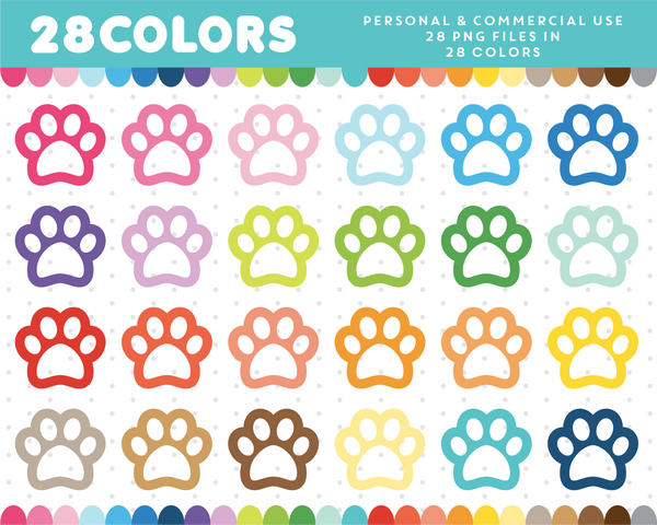 Dog paw cliparts in 28 colors, CL-457 JS Digital Paper