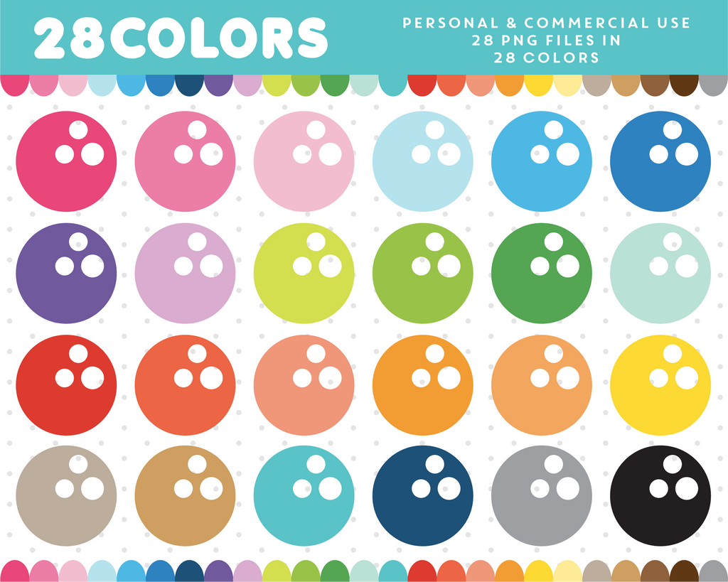 Bowling ball clipart in 28 colors, CL-460 JS Digital Paper