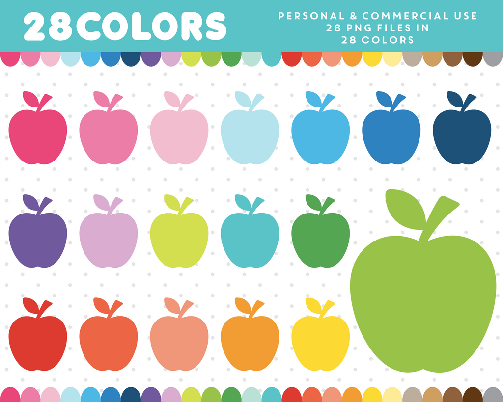 Apple clipart in 28 rainbow colors, CL-462 JS Digital Paper