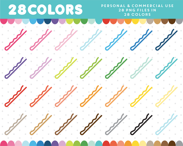 Bobby pin clipart in 28 colors, CL-463 JS Digital Paper