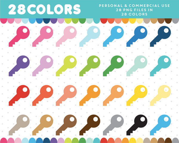 House key clipart in 28 colors, CL-472 JS Digital Paper