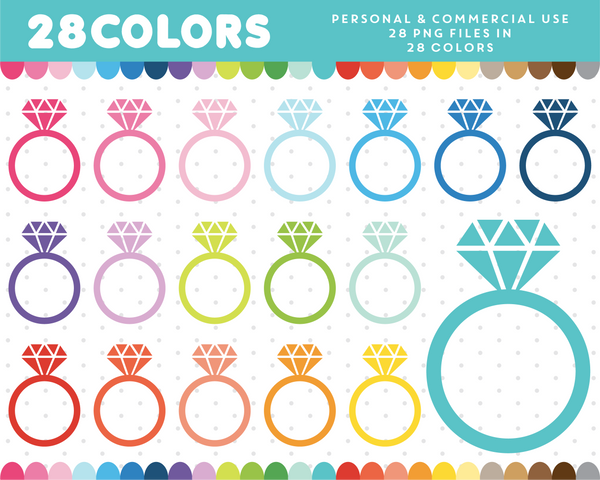 Diamond ring graphics in 28 colors, CL-475 JS Digital Paper