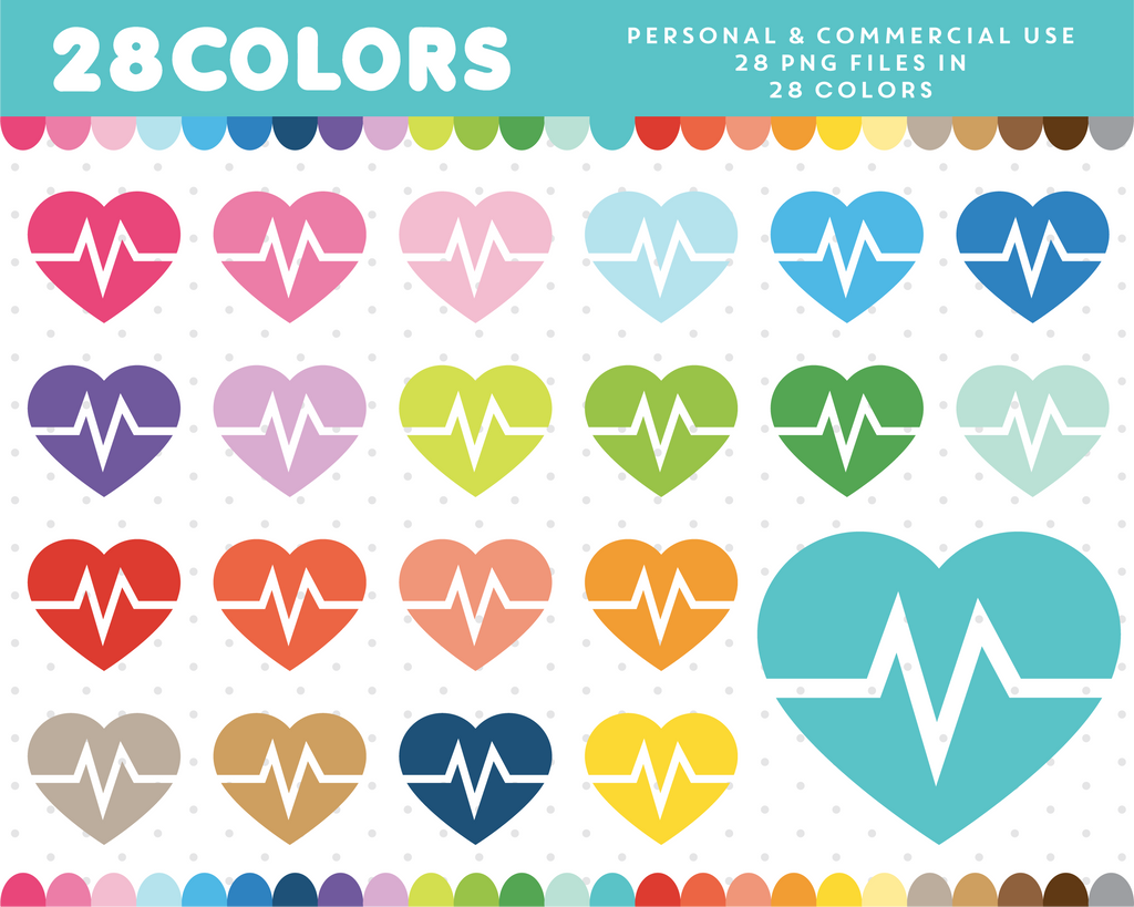Heart beat in heart clipart in 28 colors, CL-507 JS Digital Paper