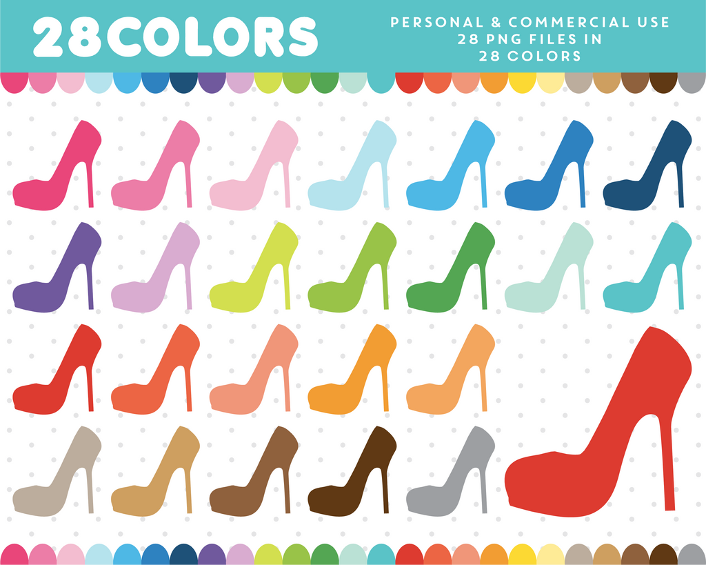 High heel clipart in 28 colors, CL-51