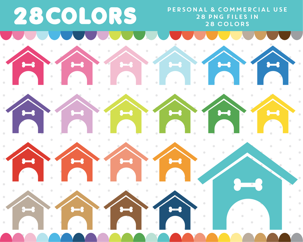 Dog house clipart in 28 colors, CL-516 JS Digital Paper