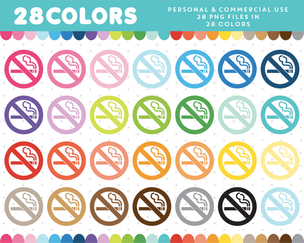 No smoking clipart in 28 colors, CL-517 JS Digital Paper