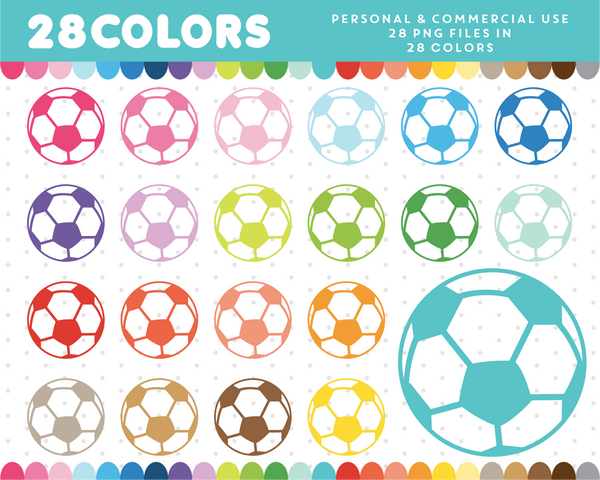 Soccer clipart in 28 colors, CL-524 JS Digital Paper