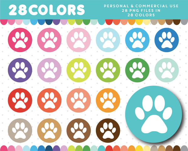 Doggie clipart in 28 colors, CL-561 JS Digital Paper