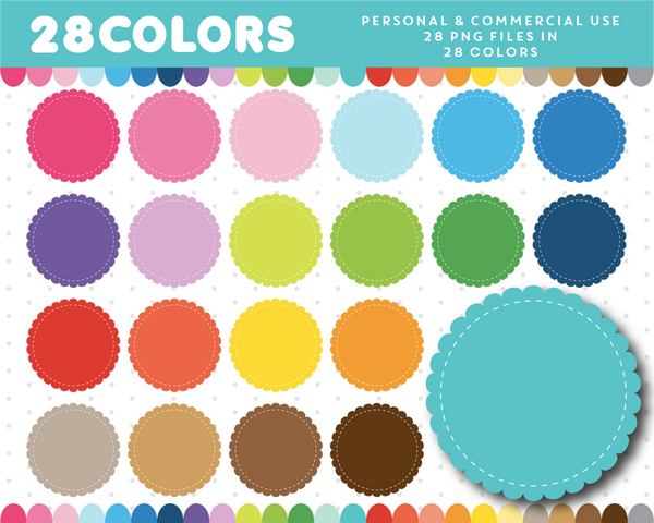 Digital scalloped round frame clipart in 28 colors, CL-57