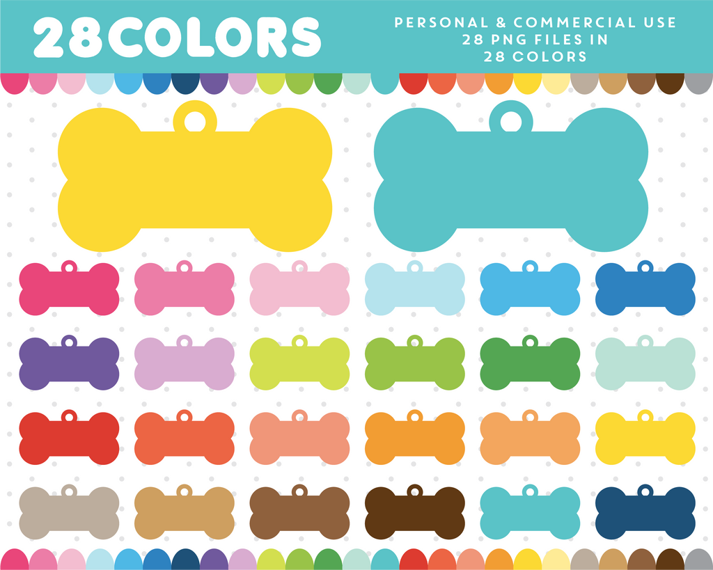Dog tag clipart in 28 colors, CL-587 JS Digital Paper