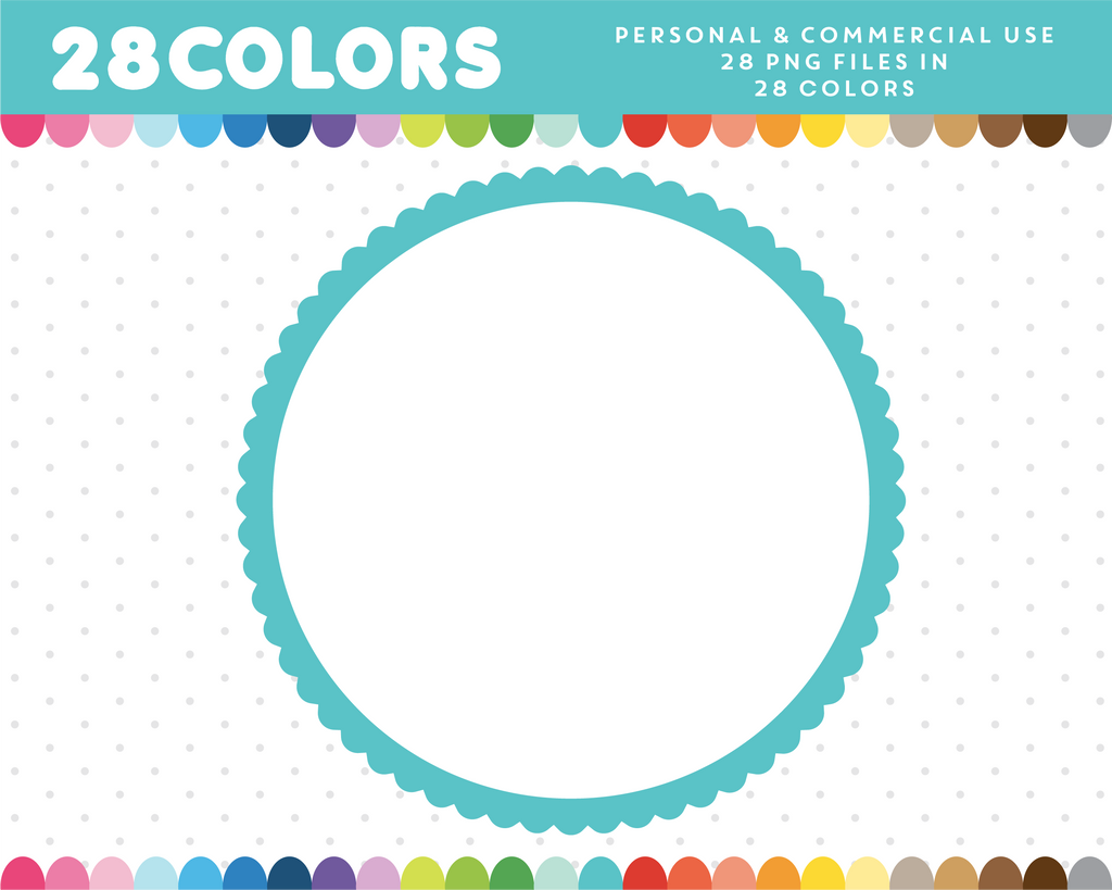 Round scalloped frame clipart in 28 colors, CL-593 – JS Digital Paper