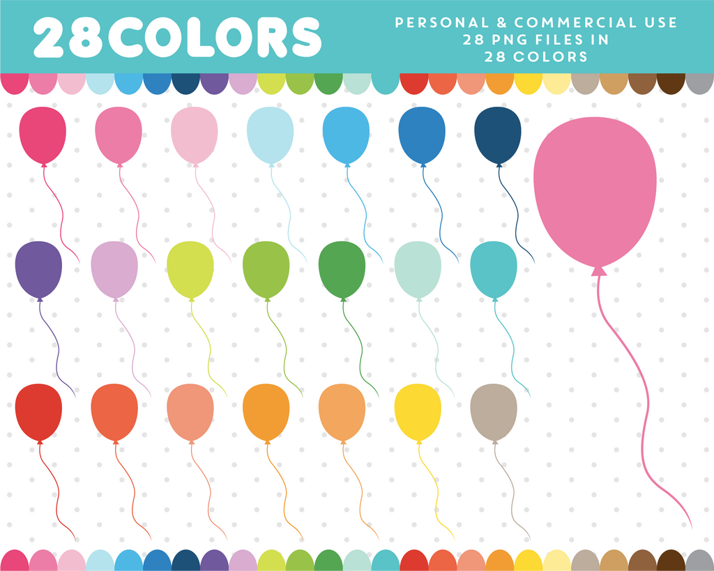 Balloons clipart in 28 colors, CL-603 JS Digital Paper