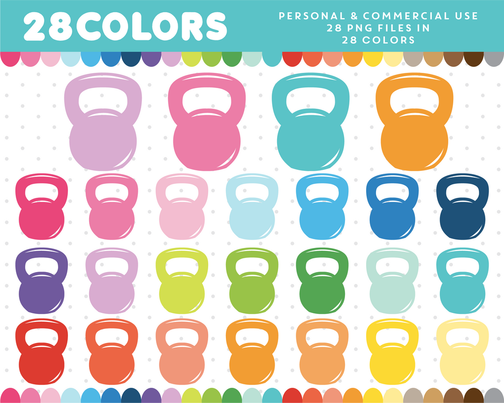 Kettlebell clipart in 28 colors, CL-619 JS Digital Paper