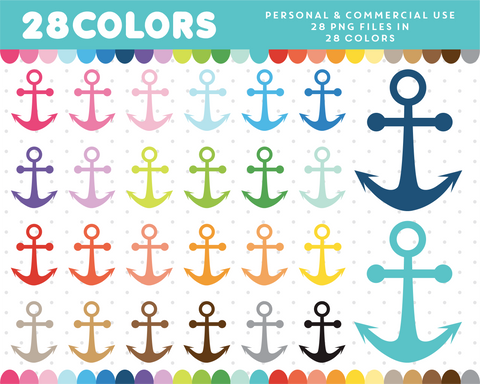 Anchor clipart in 28 colors, CL-621 JS Digital Paper