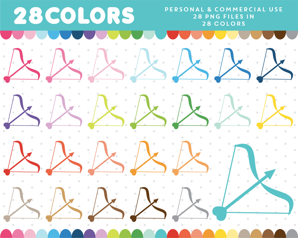 Bow and arrow clipart in 28 colors, CL-646 JS Digital Paper